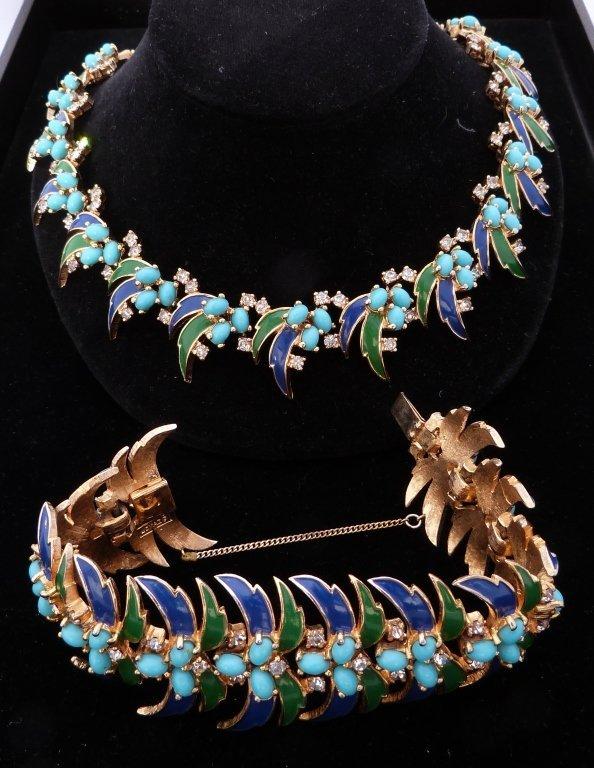 70: Gilt, Enamel, and Rhinestone Necklace and Bracelet