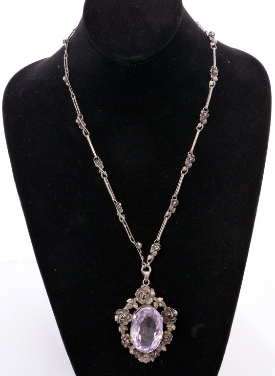 72: Sterling Silver and Amethyst Necklace