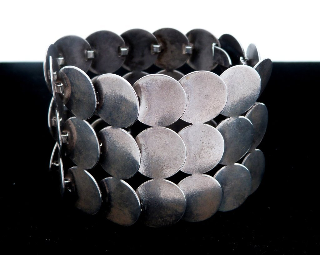 2: Silver Metal Discs Bracelet Mid-Century