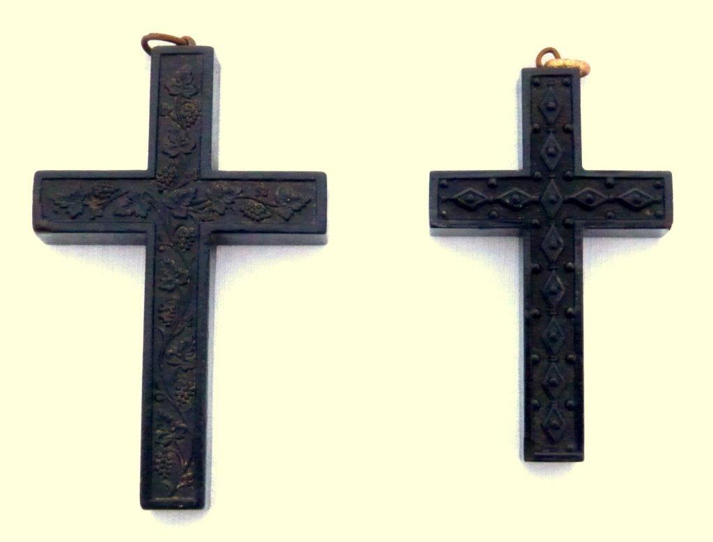 4: 2 Gutta Percha , 19th C. Crosses