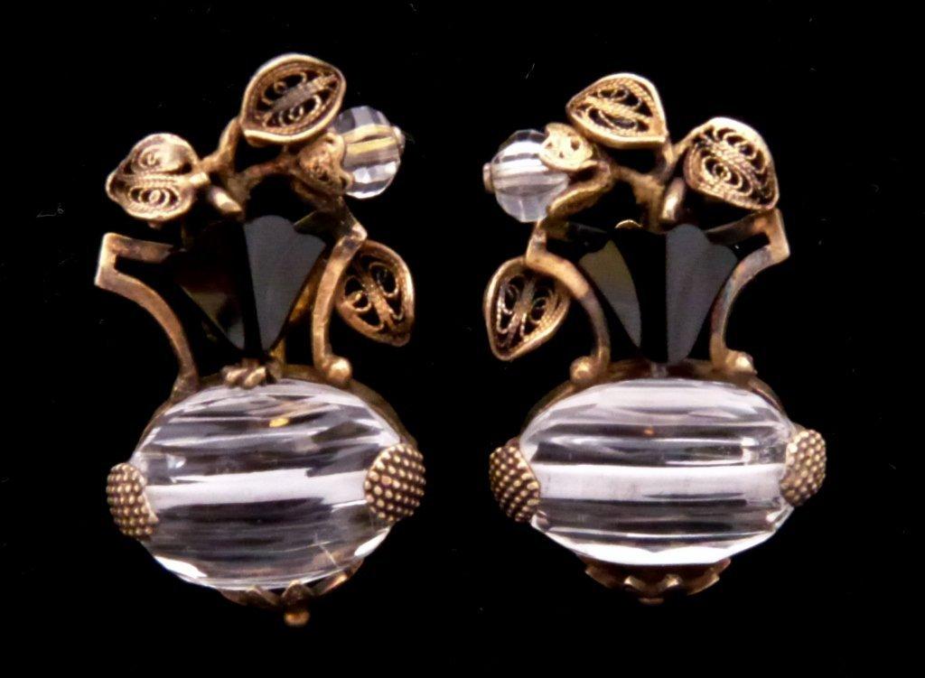 9: Pr of  Rock Crystal, Onyx, & Vermeil Earrings