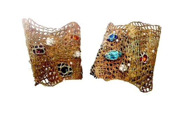2: Pair of Gilded Crochet Cuff Bracelets