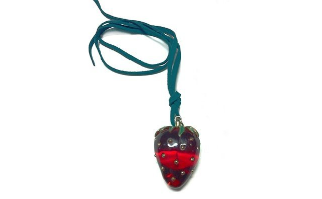 4: Bakelite Strawberry Form Pendant