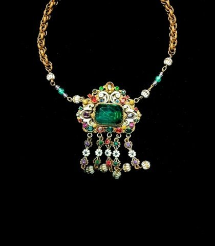 17: Enamel and Jeweled Stone Necklace