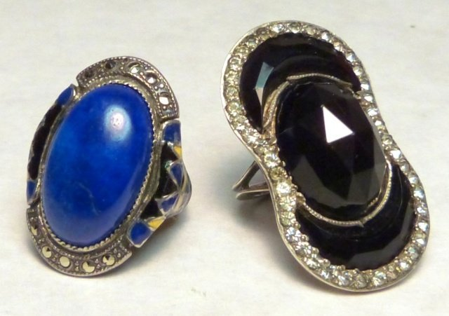 19: Lapis Stone Ring and French Black Glass