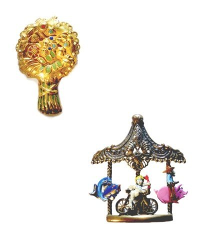 22: Arthur Bertrand Paris,Two Enamel Decorated Brooches