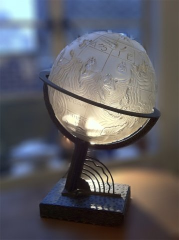 225: Marius Sabino, Art Deco Whimsical World Globe Lamp