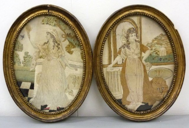 Pair of Antique Framed Needlework Wall Hangings