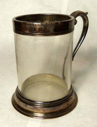 J.DIXON&SONS SHEFFIELD, Silver Overlay and Glass Mug