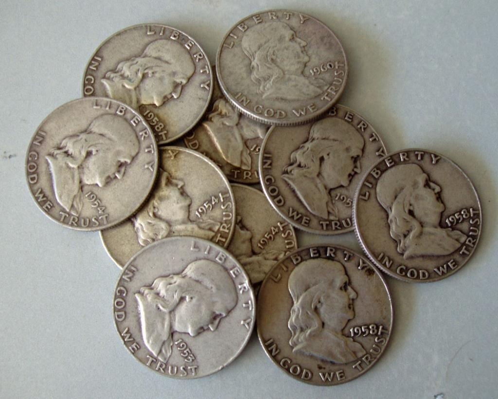 16: LOT OF FRANKLIN SILVER HALF DOLLARS