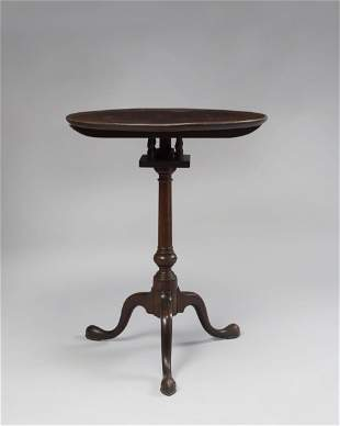 QUEEN ANNE TILT-TOP BIRD-CAGE MAHOGANY CANDLE STAND