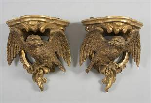 A PAIR OF CLASSICAL GILT & GESSOED WHITE PINE EAGLE