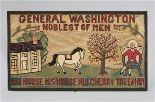 WOOL PICTORIAL HOOKED RUG: GENERAL WASHINGTON NOBLEST