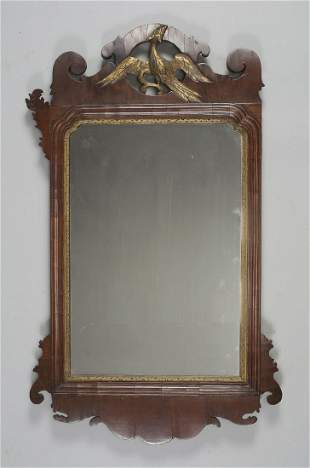 CHIPPENDALE MAHOGANY VENEERED LOOKING GLASS WITH GILT