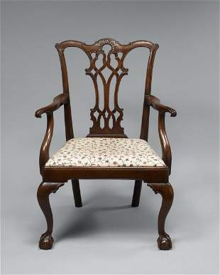 RARE CHIPPENDALE MAHOGANY OPEN ARM CHAIR MADE AND