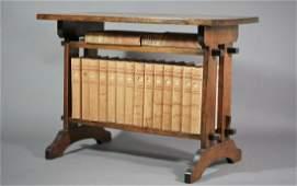 ROYCROFT OAK BOOKSTAND WITH ELBERT HUBBARD BOOKS