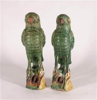 Two Chinese Glazed Pottery Parrots