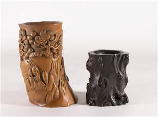 Two Carved Brush Holders