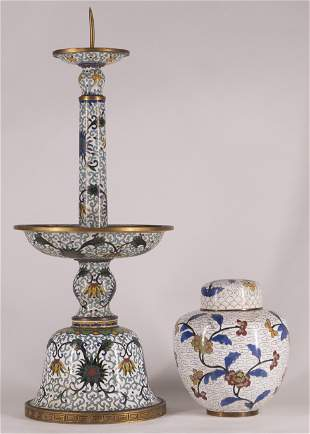 Chinese Cloisonne Pricket Stick and Ginger Jar