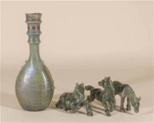 Roman Style Glass Bottle and Three Jade Horses