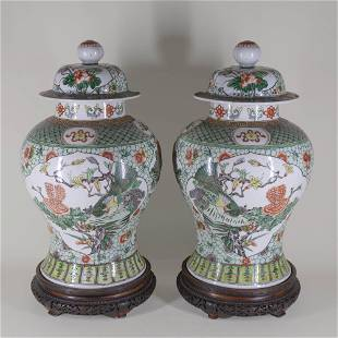 Pair Chinese Famille Verte Porcelain Covered Jars