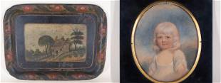 Tole Drinks Tray and Portrait of Young Girl and
