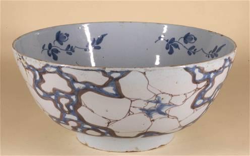 Tin Glazed English Delft 'Cracked Ice' Bowl