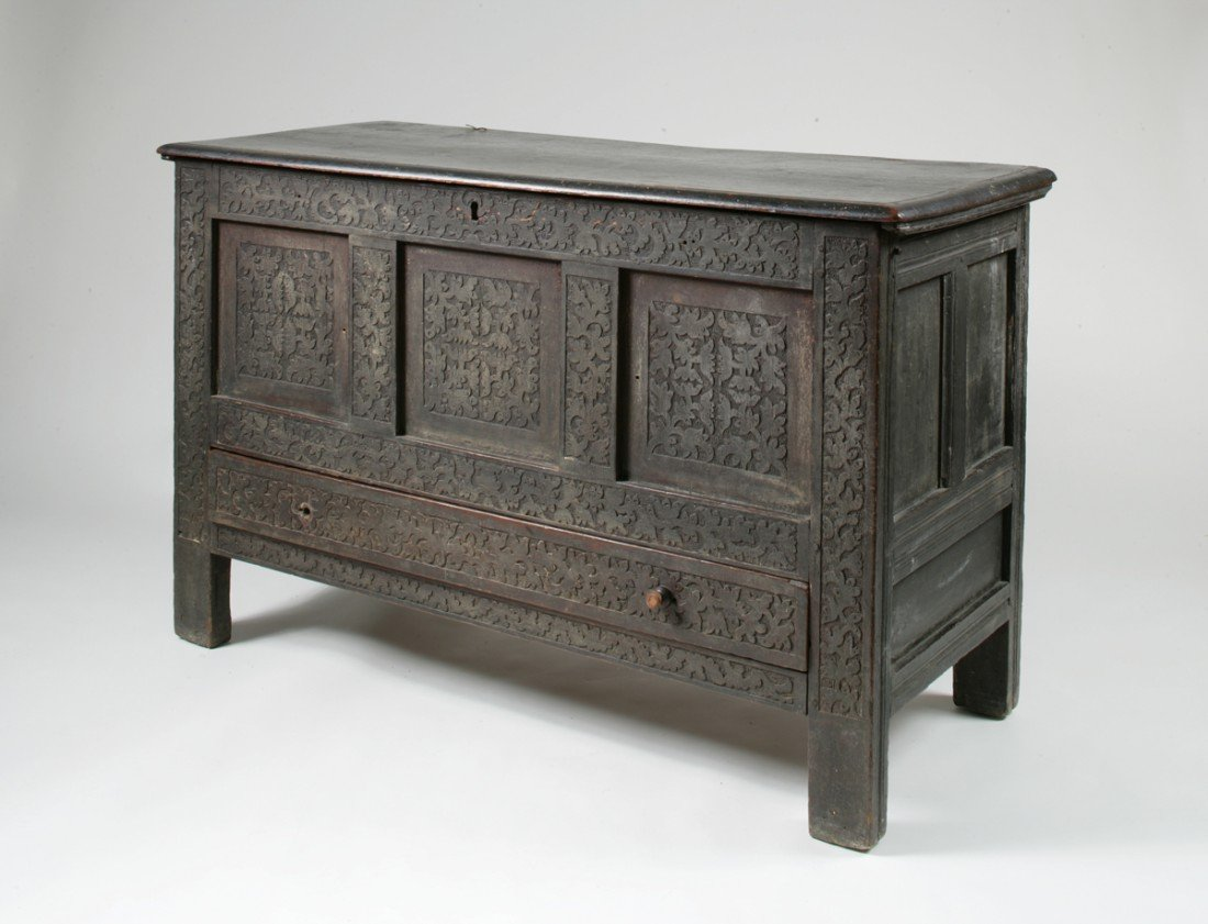 75: The Drake Family Carved and Painted Joined Chest wi