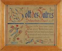 Fraktur with Inscriptions and Depictions of Four B