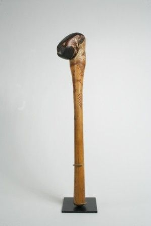 Penobscot Birch Root Club with Carved and Painted