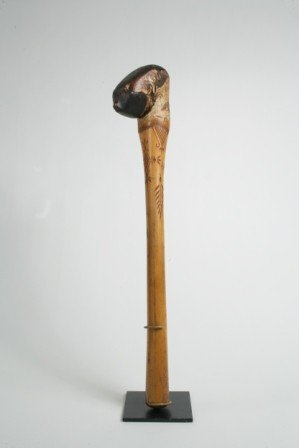 317: Penobscot Birch Root Club with Carved and Painted