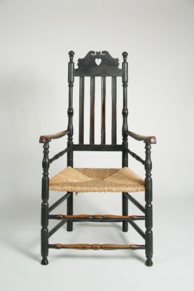1: Black Painted Queen Anne Heart and Crown Arm Chair
