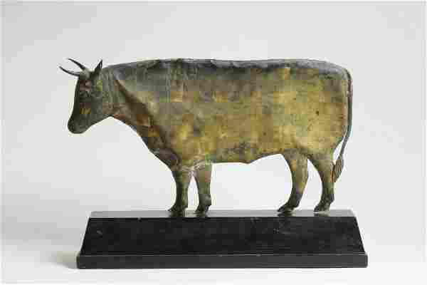 Gilt Copper Weathervane Depicting a Steer