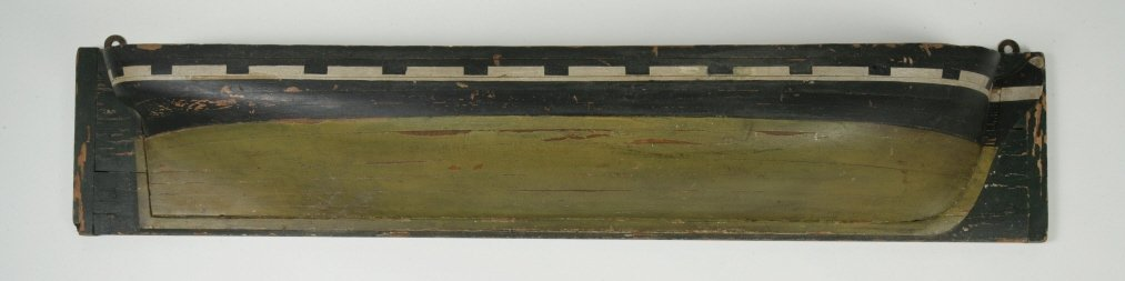 5: Green and Yellow Painted Half Hull Model
