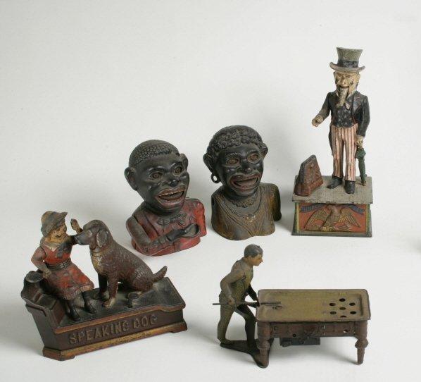 9: Four Cast Iron Mechanical Banks and Tin Pool Player