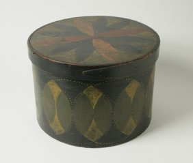 11: Painted and Decorated Circular Covered Wooden Box