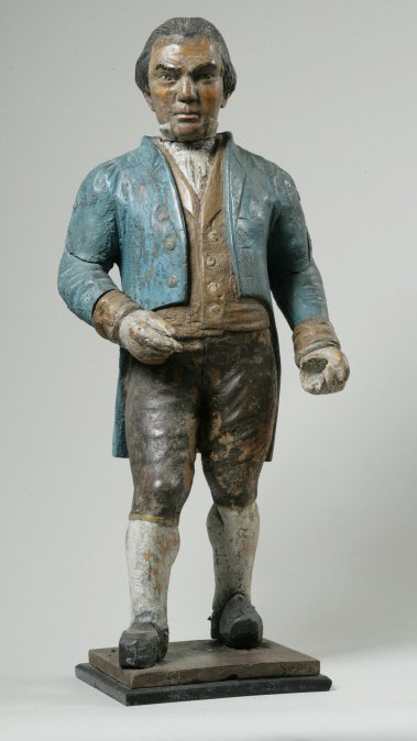 18: Painted White Pine Countertop Figure of a Gentleman