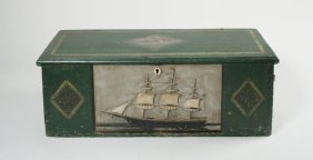 22: Painted Sea Chest with Carved Ship