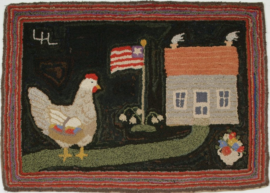 24: Pictorial Hooked American Rug: Ms. Hen