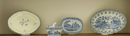 160: Three Soft-Paste Trays and a Miniature Tureen