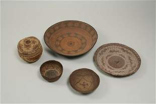 Group of Five Baskets and Trays