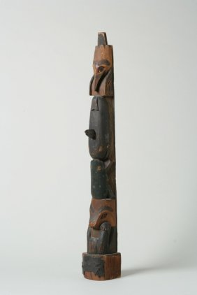Carved and Painted Wooden Northwest Coast Indian Totem