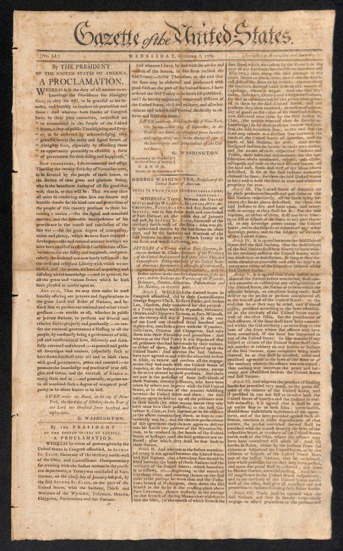 George Washington's First Thanksgiving Proclamation