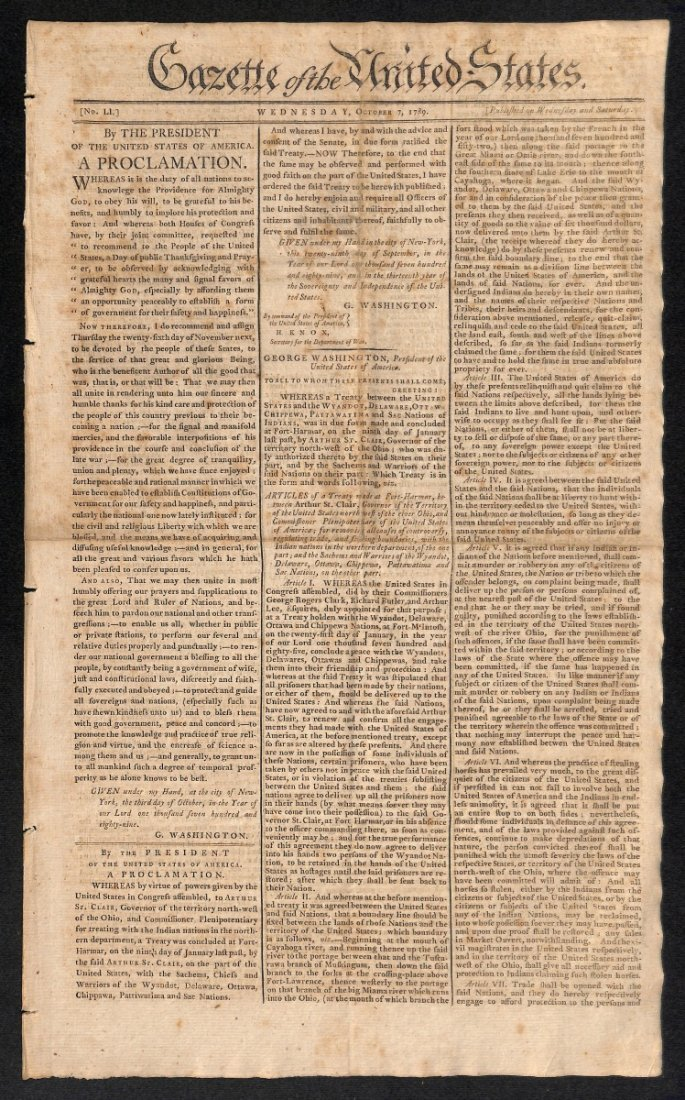 George Washington's First Thanksgiving Proclamation