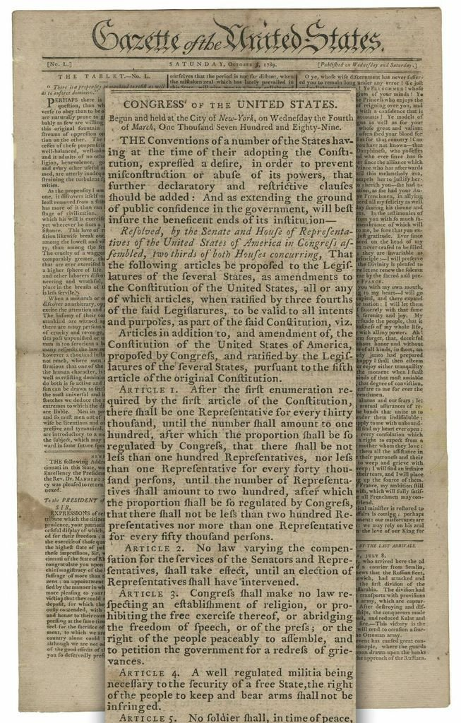 Earliest Obtainable Printing of the Bill of Rights - 2