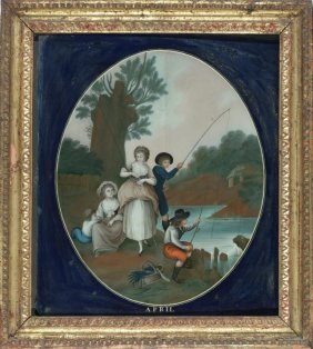 Five Chinese Export Reverse Paintings on Glass Months