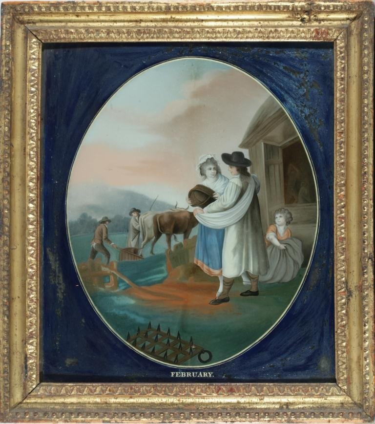 Five Chinese Export Reverse Paintings on Glass Months - 2