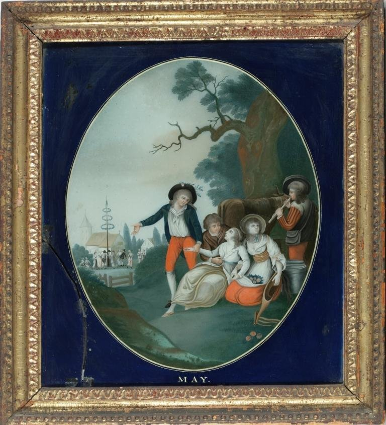 Five Chinese Export Reverse Paintings on Glass Months - 5