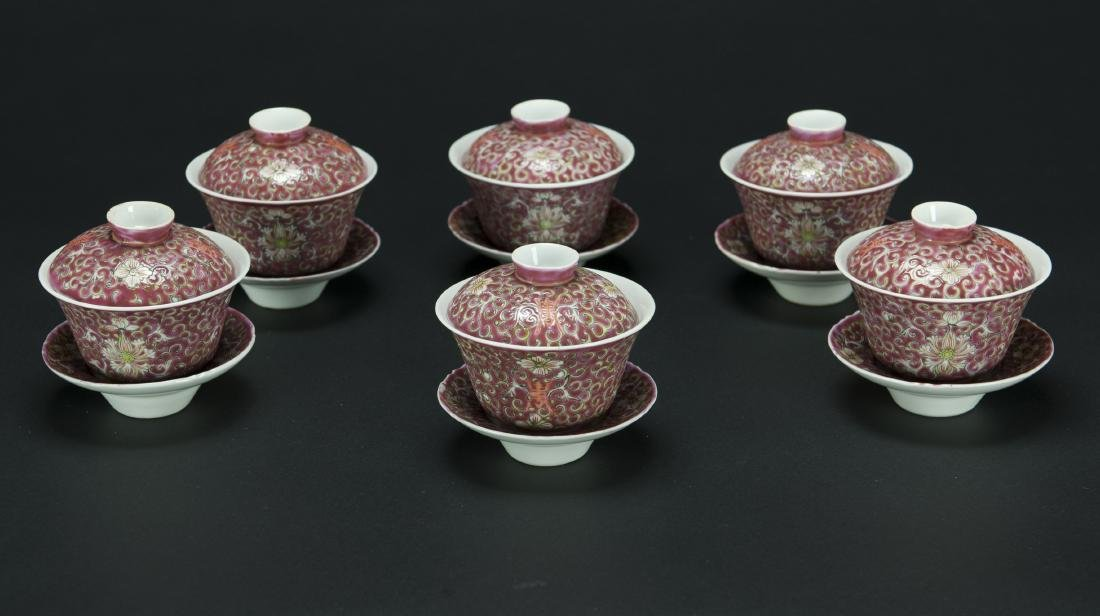 Republic-A Set Of Six Red Ground 'Floral' Cups With
