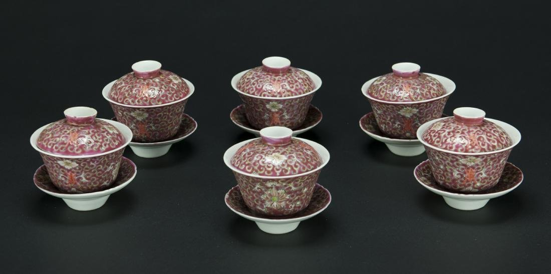 Republic-A Set Of Six Red Ground 'Floral' Cups With - 2